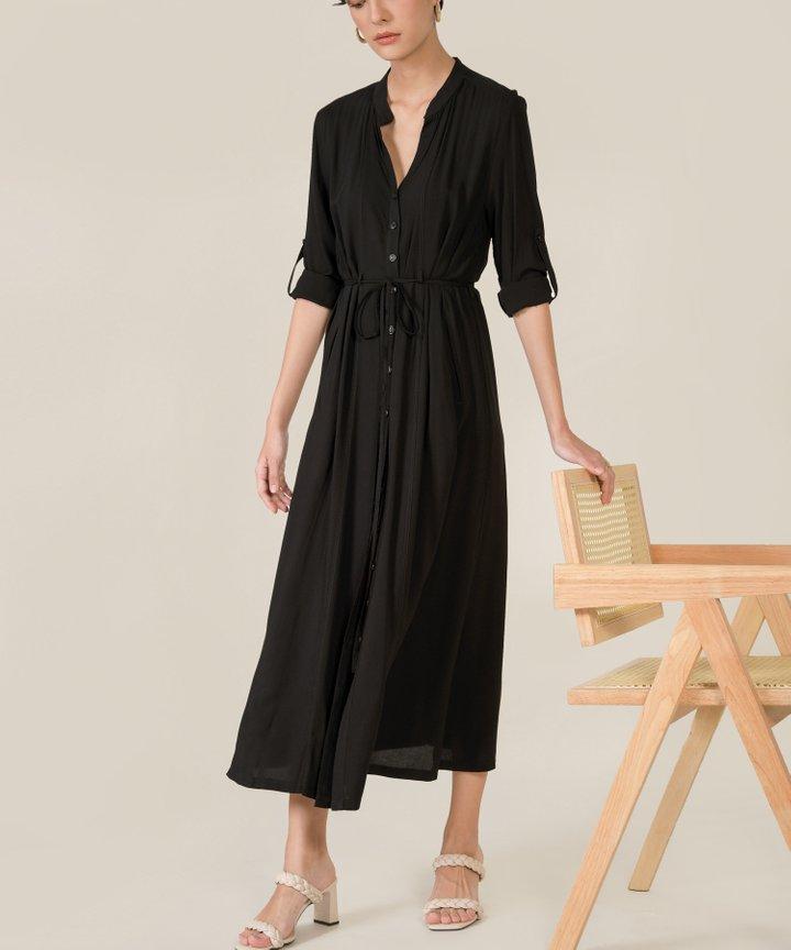 Abbey Button Down Maxi Shirtdress - Black