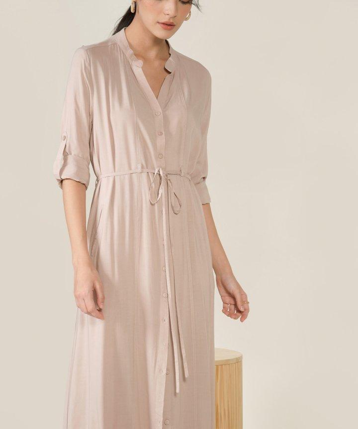 Abbey Button Down Maxi Shirtdress - Pale Blush