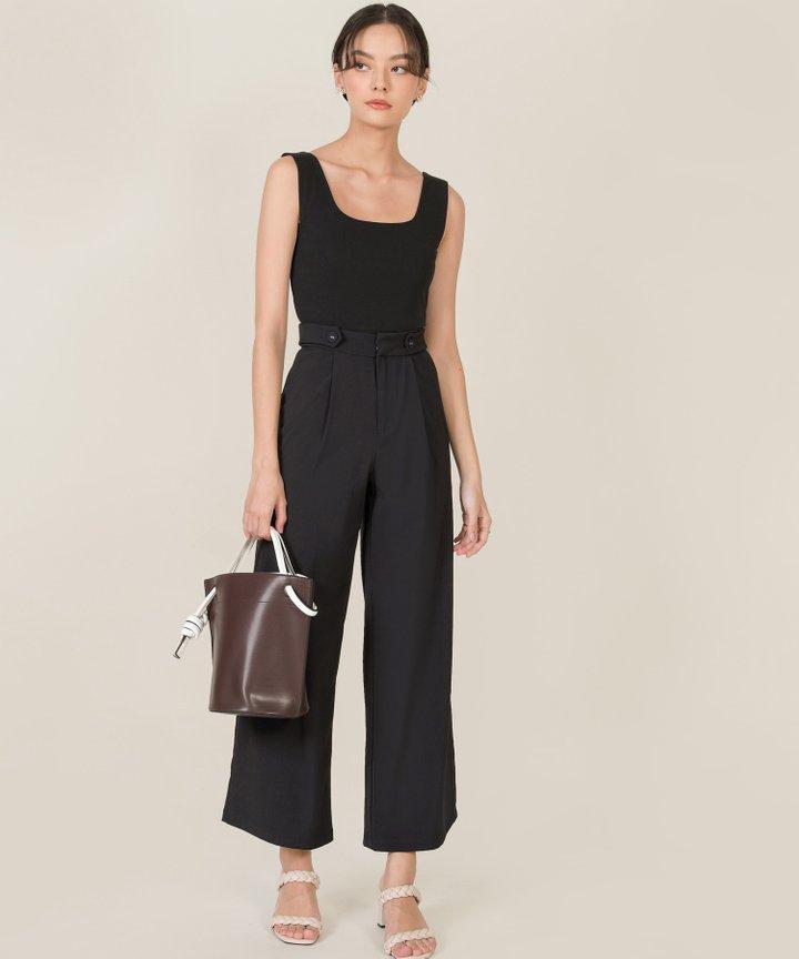 Ambrosia Button Wide Leg Pants - Black