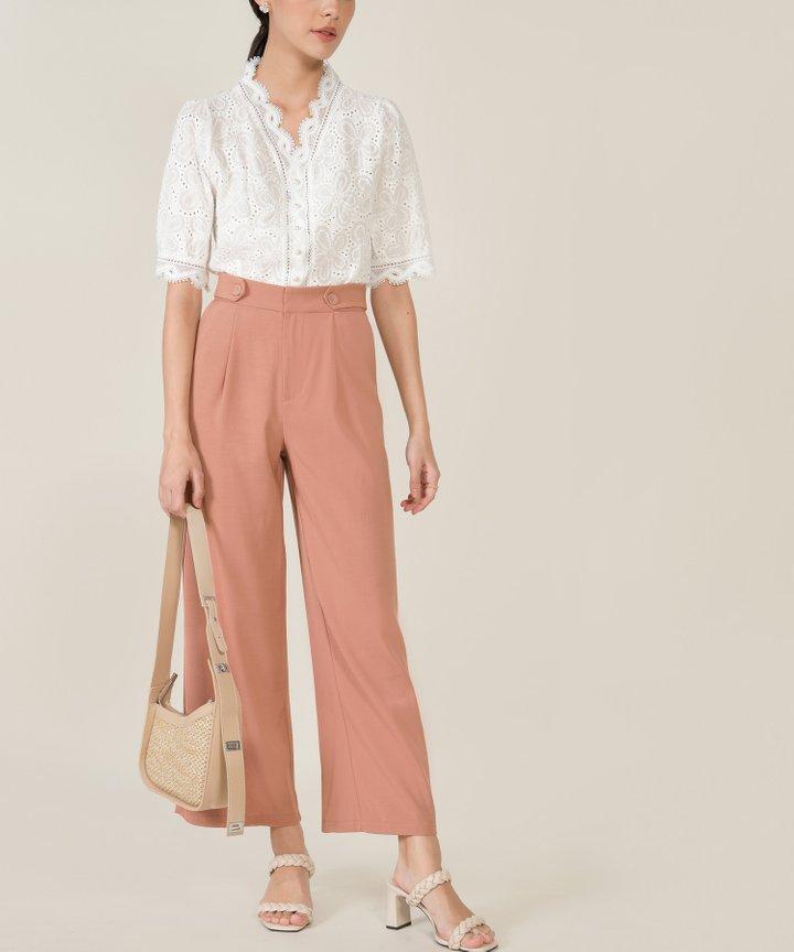 Ambrosia Button Wide Leg Pants - Pink Beige