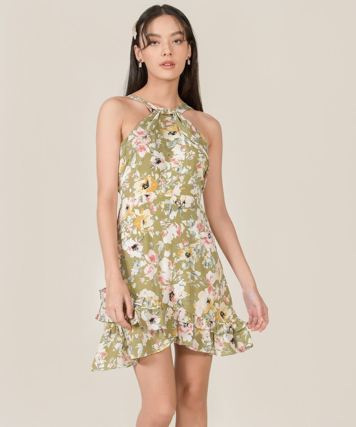 Behati Abstract Floral Halter Dress - Chartreuse