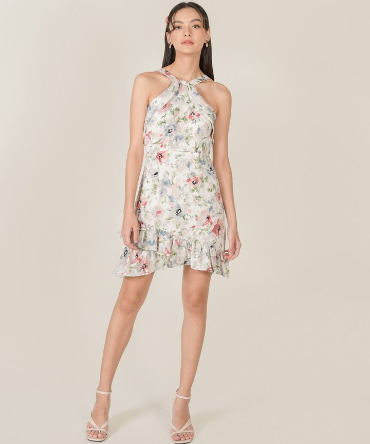 Behati Abstract Floral Halter Dress - White