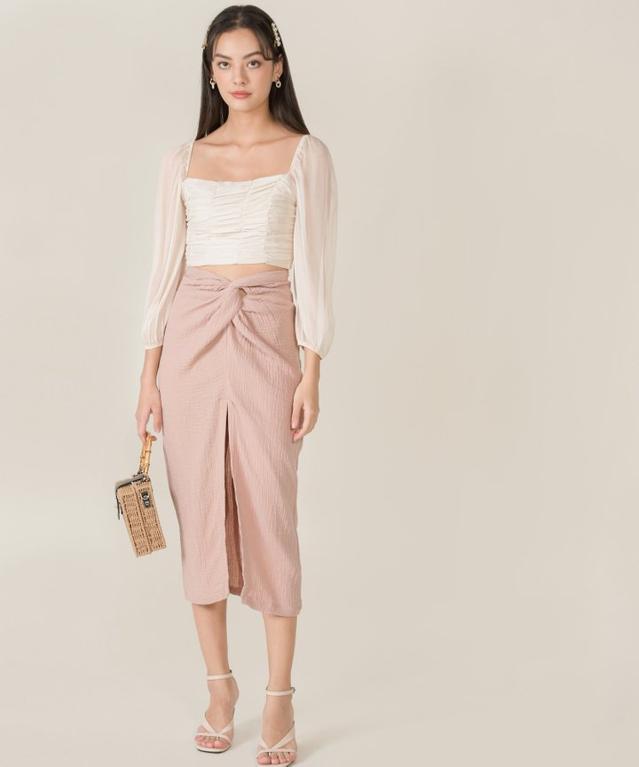 Bella Ruched Cropped Top - Pearl Ivory