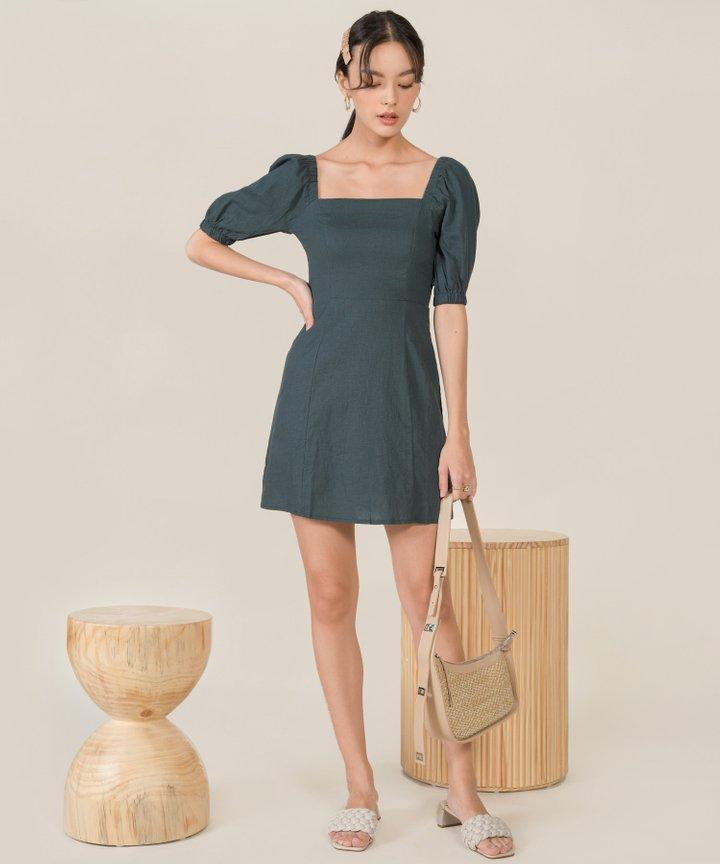 Chrysalis Linen A-line Dress - Dark Teal