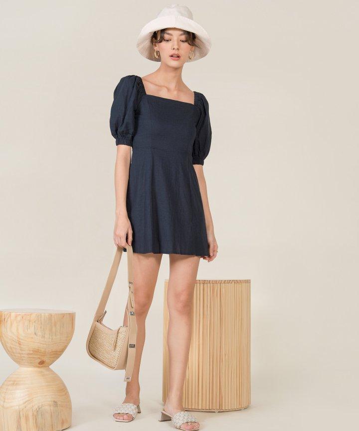 Chrysalis Linen A-line Dress - Midnight Blue