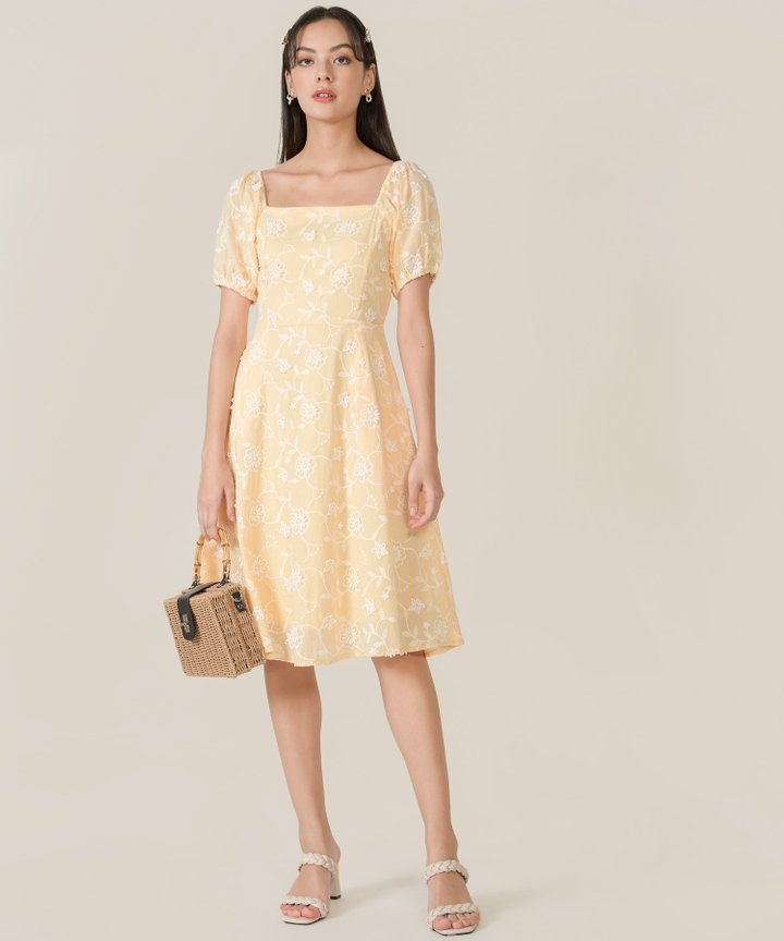 Fleurette Embroidered Midi Dress - Buttermilk