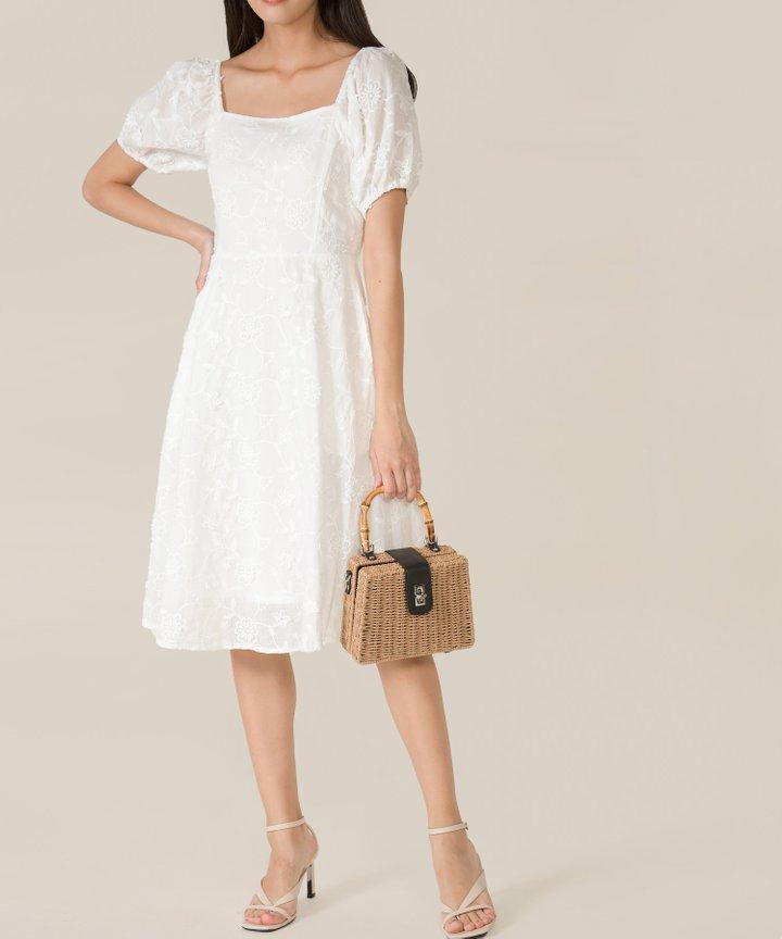 Fleurette Embroidered Midi Dress - White