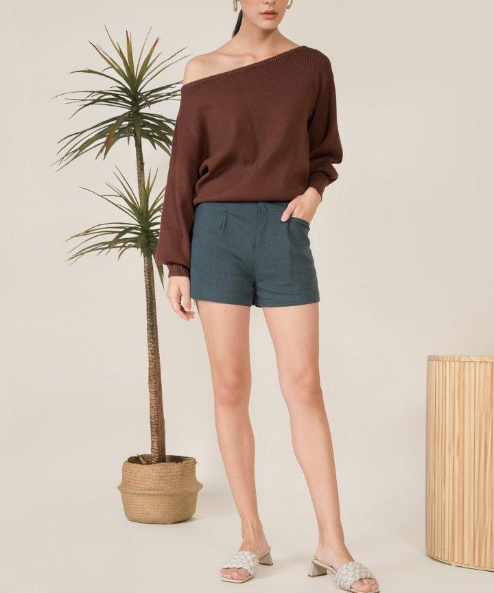 Lilley Linen Belted Shorts - Dark Teal
