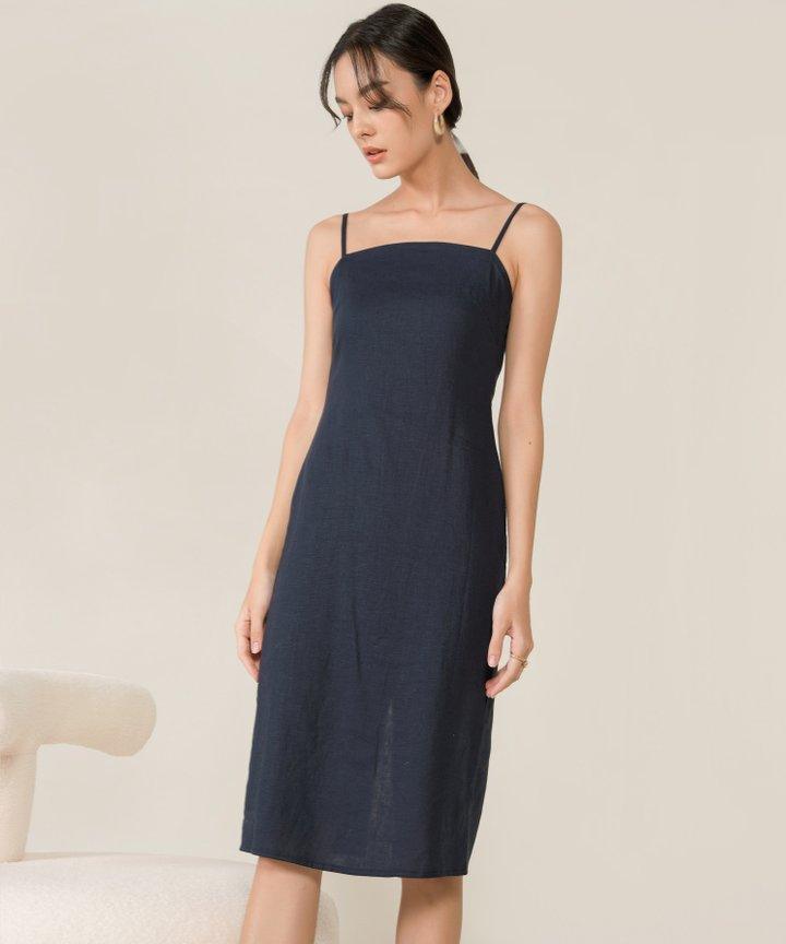 McKenna Linen Column Midi Dress - Midnight Blue