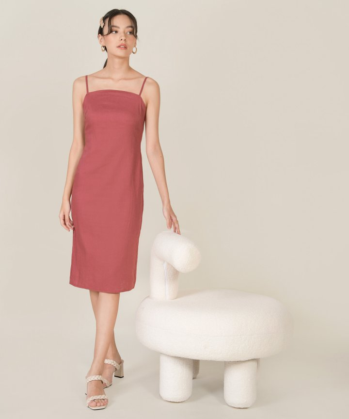 McKenna Linen Column Midi Dress - Rose