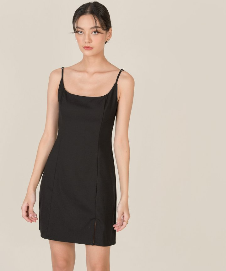 Montaigne A-line Slit Dress - Black