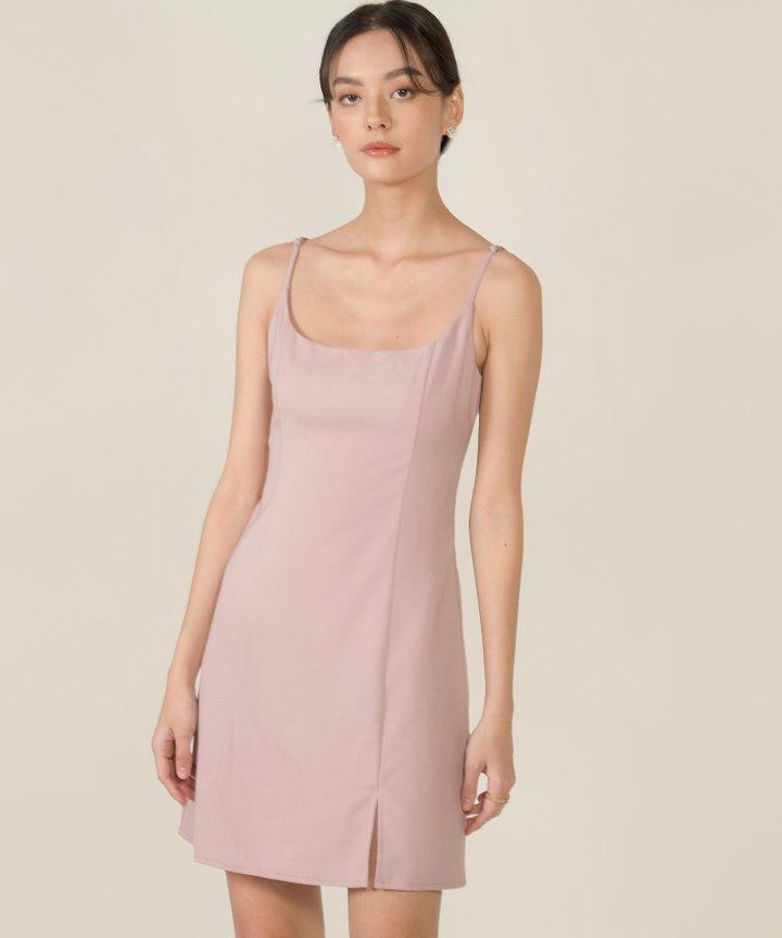 Montaigne A-line Slit Dress - Dust Pink