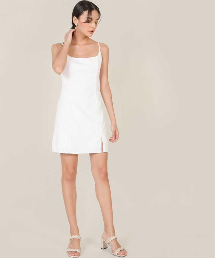 Montaigne A-line Slit Dress - White