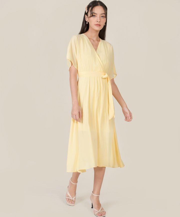 Rituelle Striped Kimono Midi Dress - Lemonade