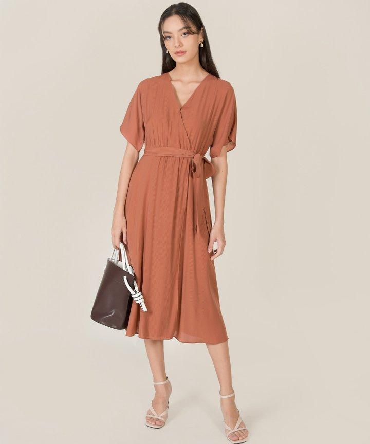 Rituelle Striped Kimono Midi Dress - Redwood