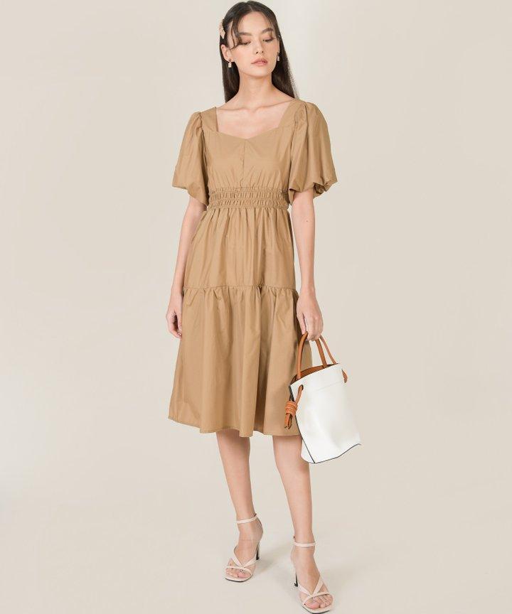 Vallena Smocked Poplin Midi Dress