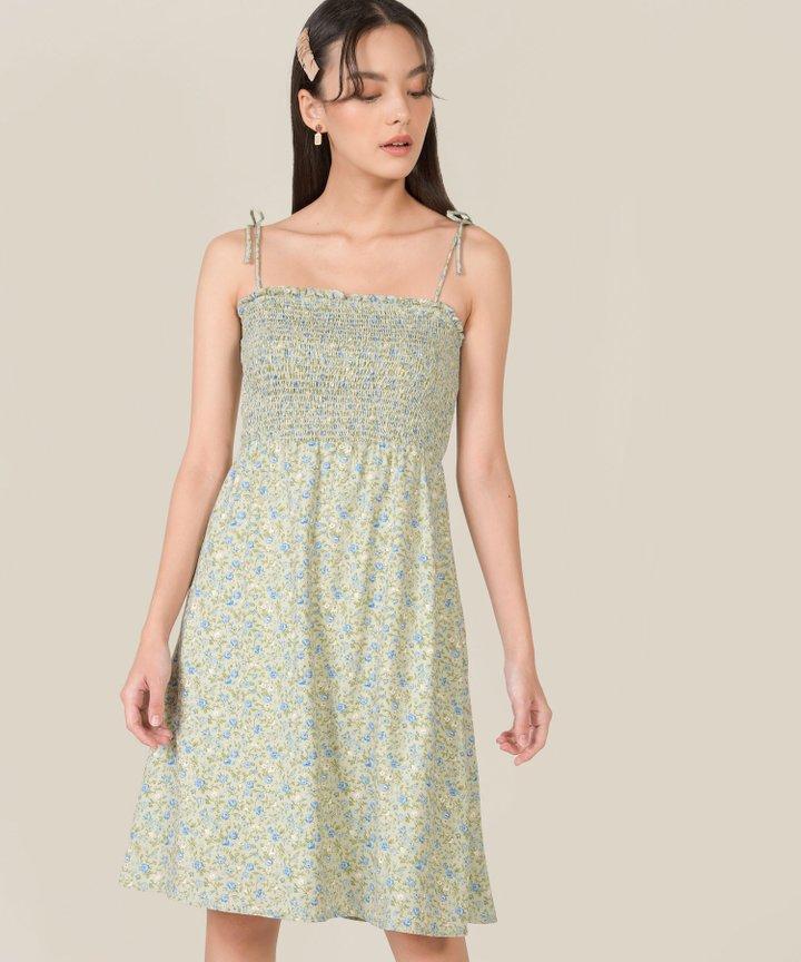 Yarra Floral Smocked Tie Shoulder Dress