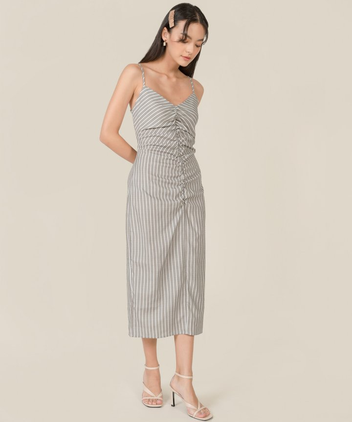 Zola Striped Ruched Linen Midaxi Dress