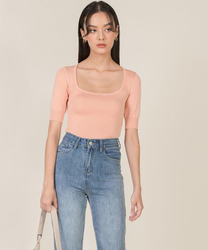Abrielle Trapeze Knit Top - Blush Pink