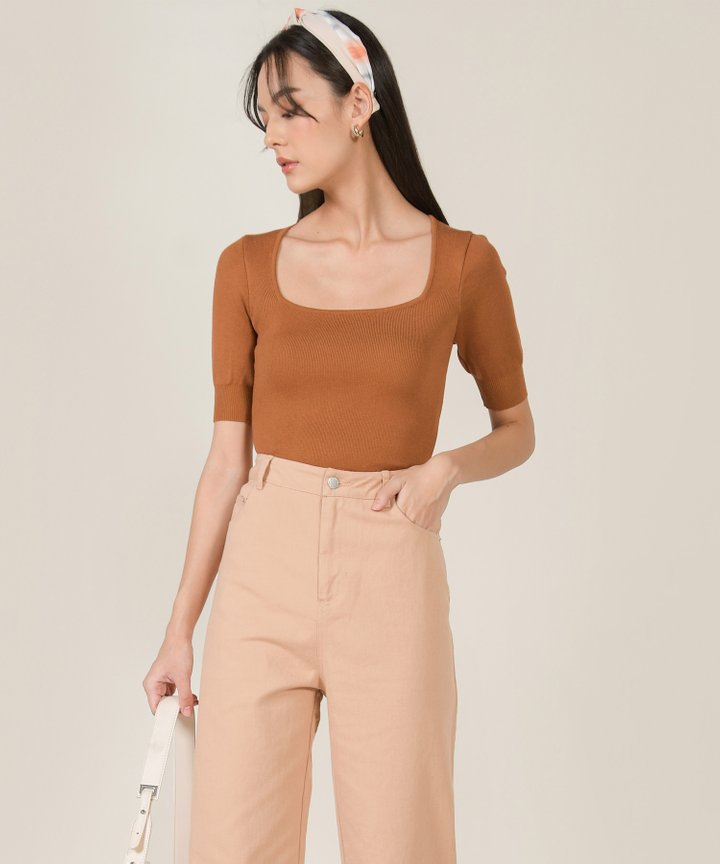 Abrielle Trapeze Knit Top - Ginger Brown