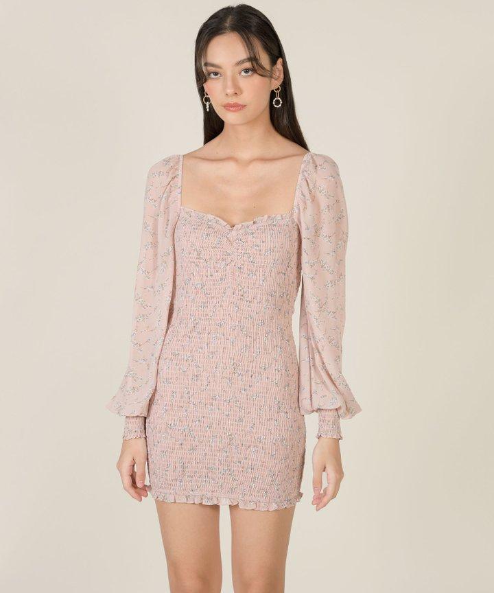 Adelia Floral Smocked Dress - Pale Pink