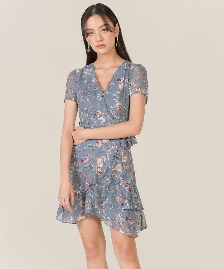 Anglaise Floral Ruffle Overlay Dress - Dust Blue
