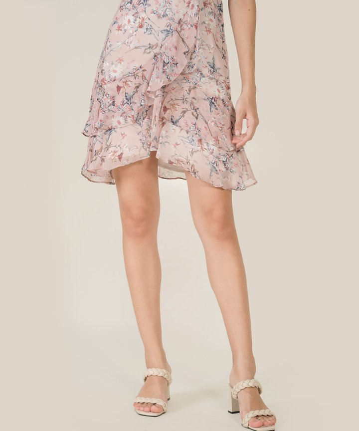 Anglaise Floral Ruffle Overlay Dress - Pale Pink