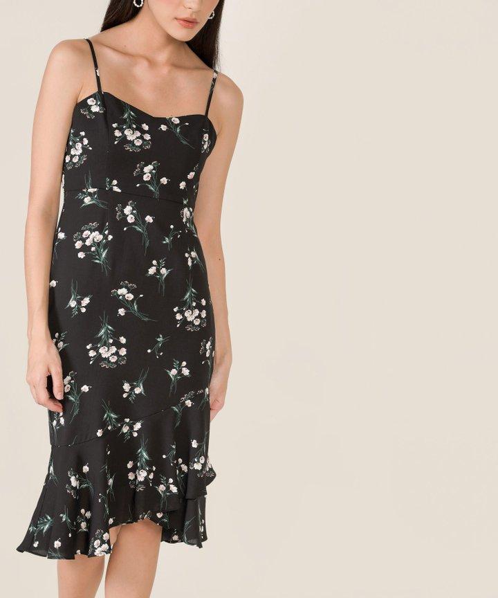 Artemis Floral Mermaid Midi Dress - Black