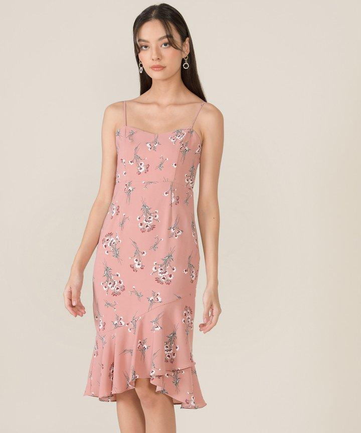 Artemis Floral Mermaid Midi Dress - Rose Pink