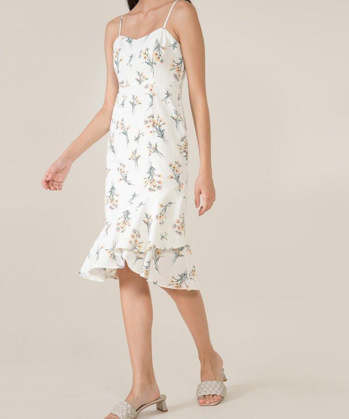 Artemis Floral Mermaid Midi Dress - White