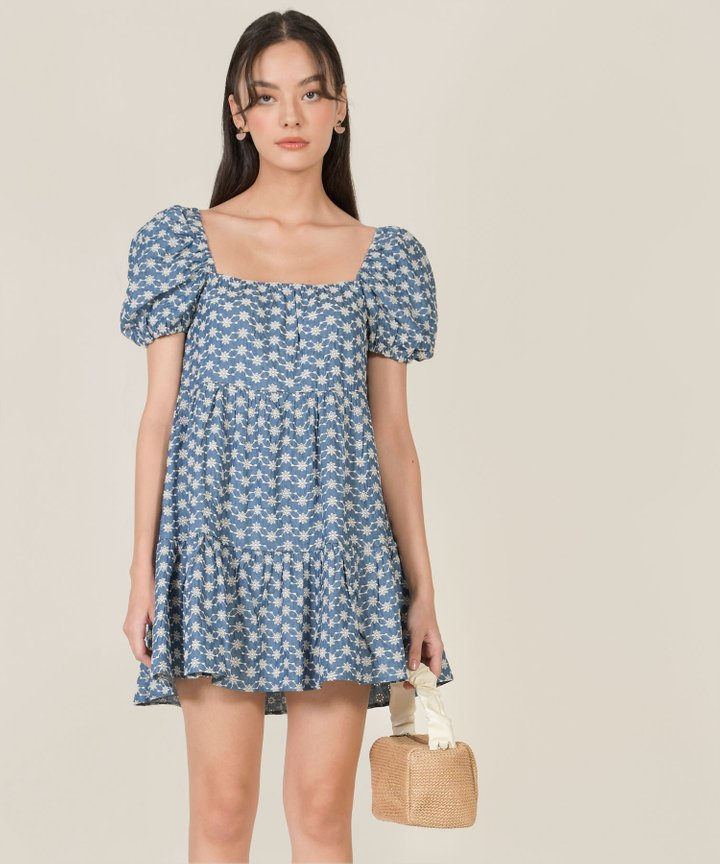 Calin Embroidered Puff Sleeve Dress