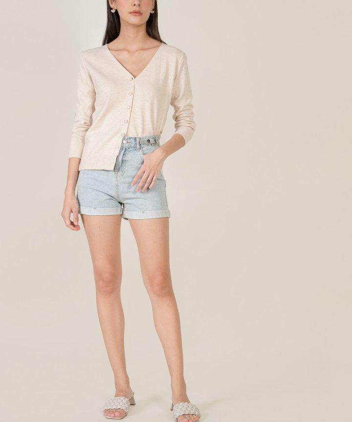 Cassina Cuffed Denim Shorts - Light Blue