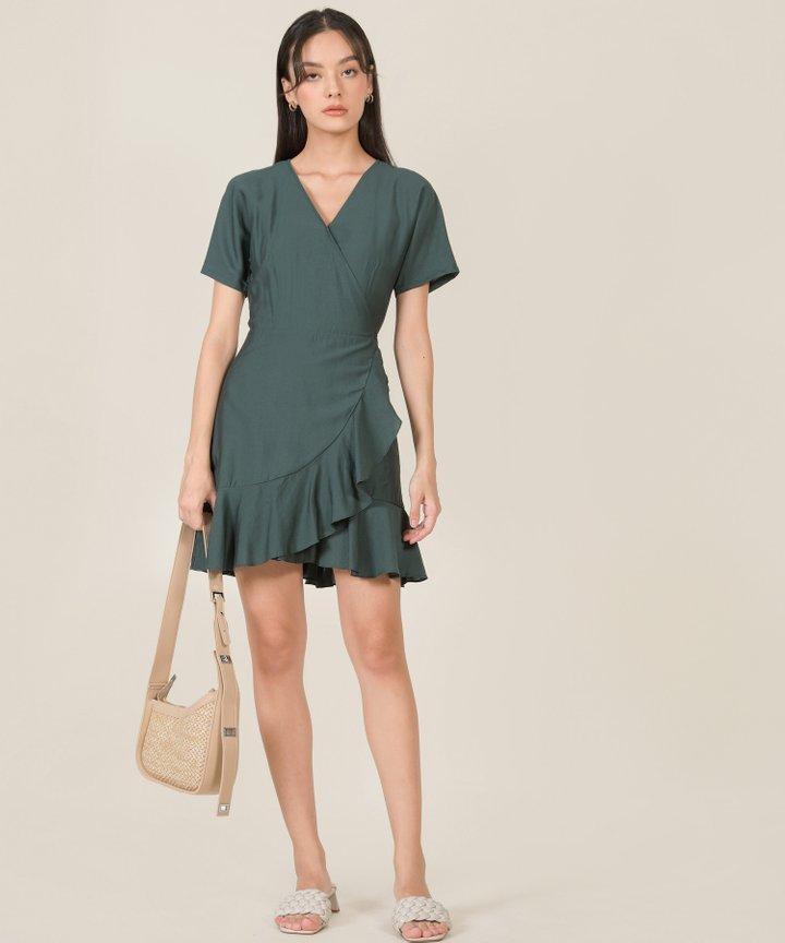 Fallon Ruffle Wrap Dress - Hunter Green