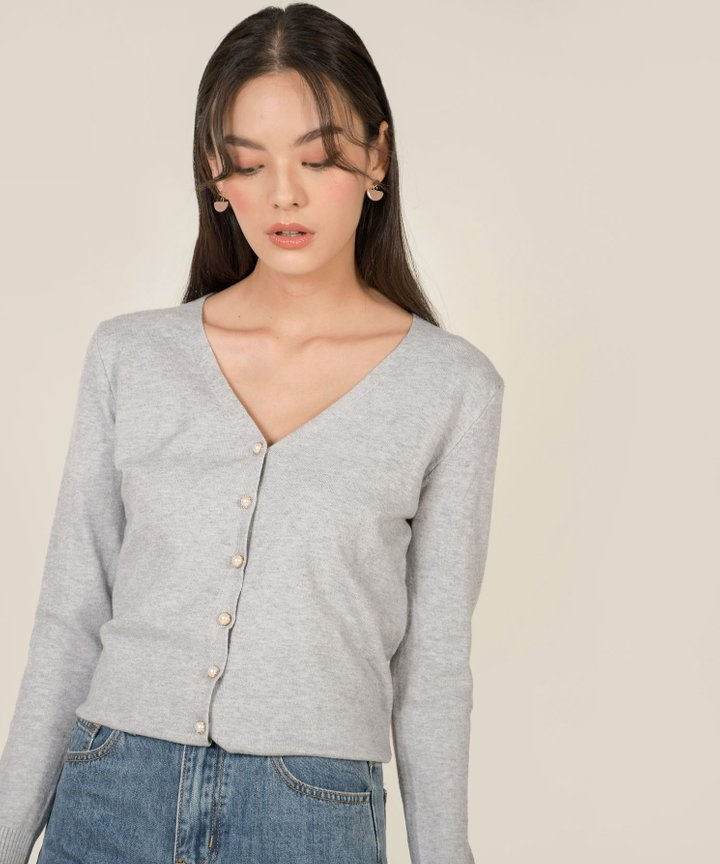 Gilded Pearl Knit Cardigan - Pale Grey