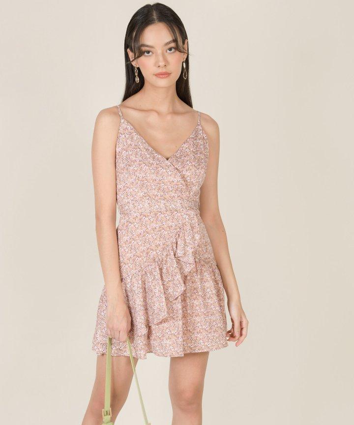 Mirage Floral Ruffle Overlay Dress - Blush Pink