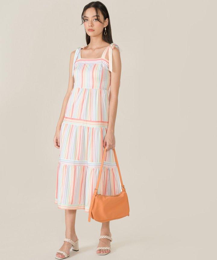 Padma Striped Tie Shoulder Midaxi Dress