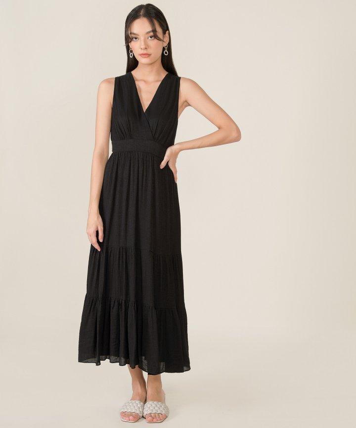 Risa Surplice Tiered Maxi Dress - Black