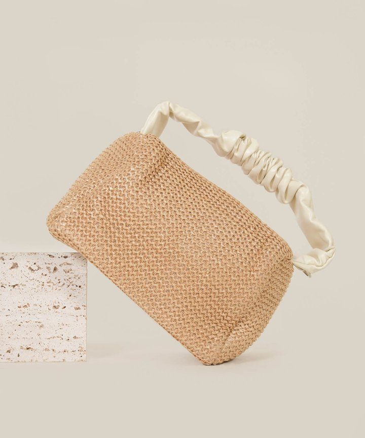 Suisse Ruched Handle Woven Bag