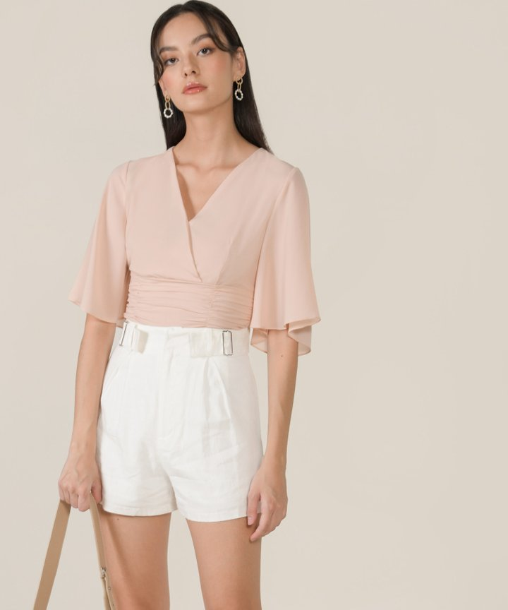 Thalia Ruched Cropped Top - Blush