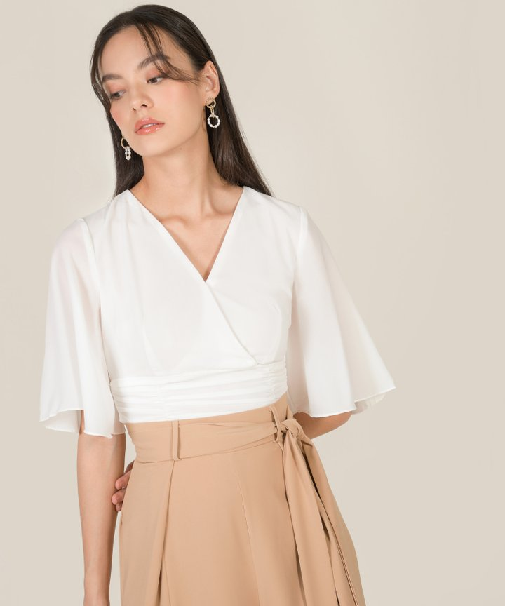 Thalia Ruched Cropped Top - White