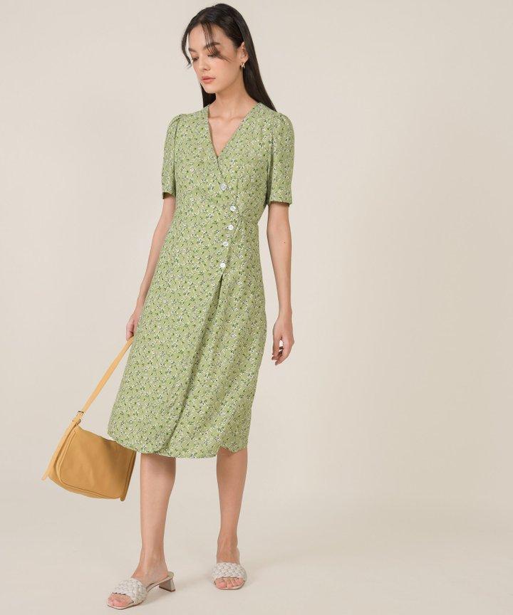 Tienda Floral Wrap Midi Dress