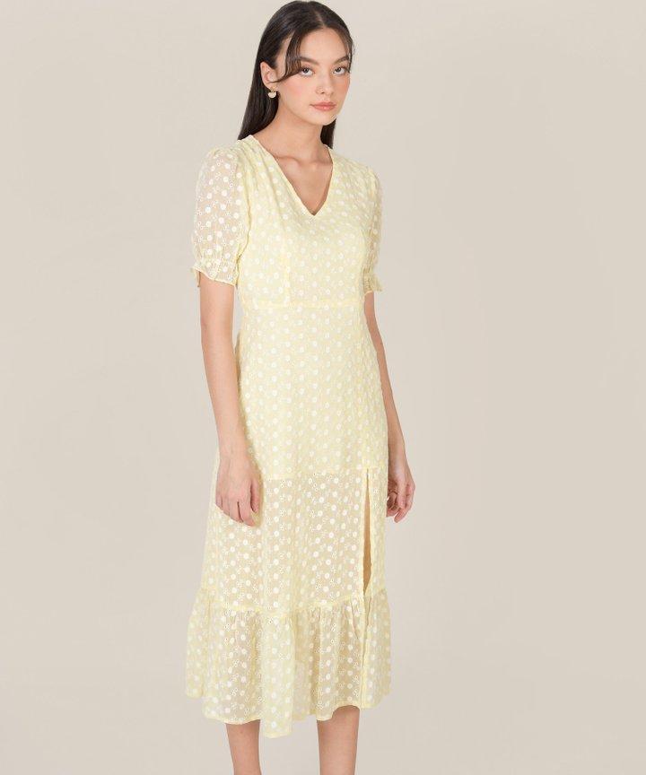Venice Floral Embroidered Midi Dress - Lemon Chiffon