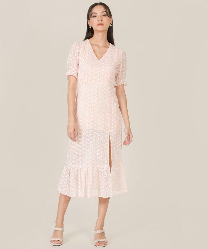 Venice Floral Embroidered Midi Dress - Pale Blush
