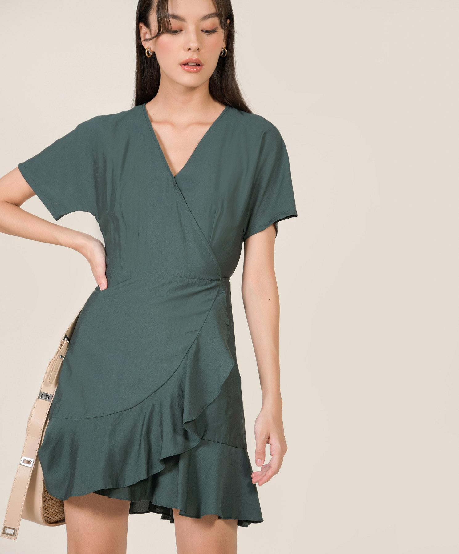 fallon-ruffle-wrap-dress-hunter-green-1