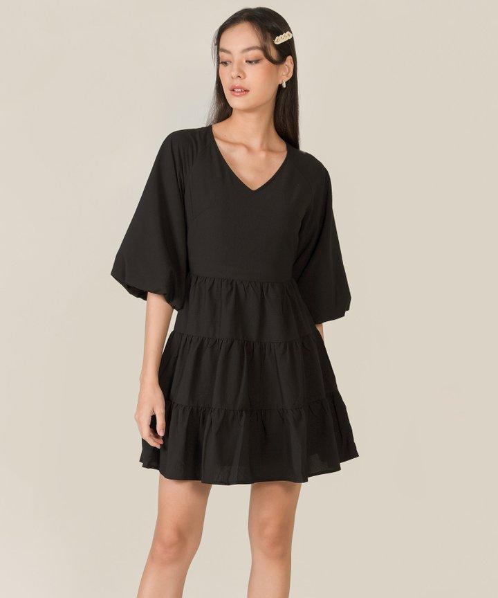 Bellina Puff Sleeve Tiered Dress - Black