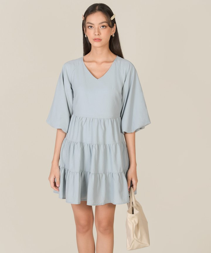 Bellina Puff Sleeve Tiered Dress - Mist Blue