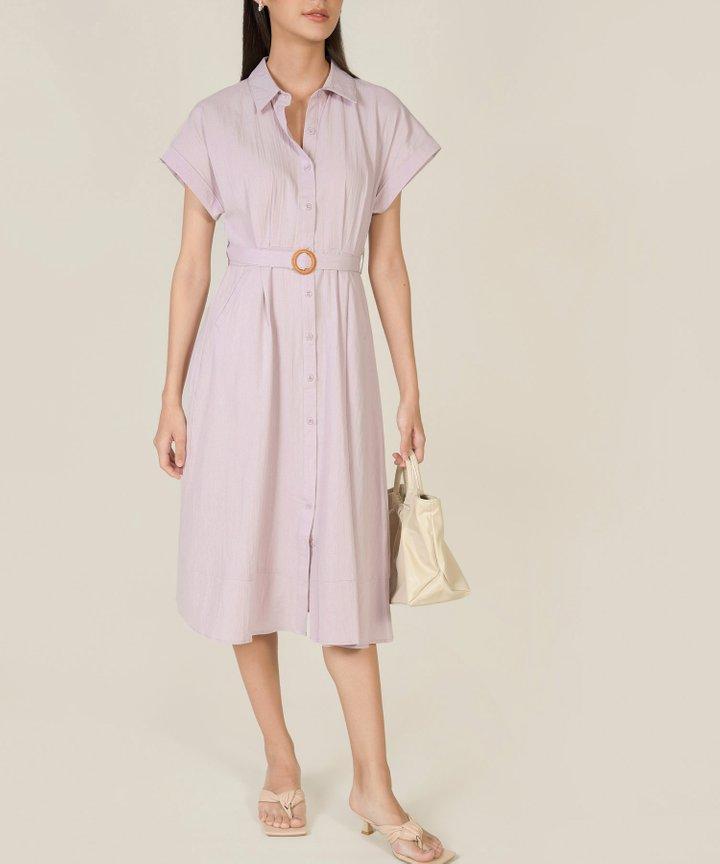 Hillary Belted Midi Shirtdress - Thistle