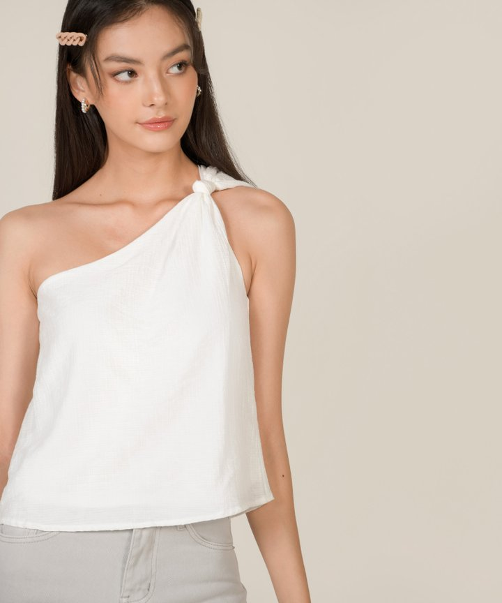 Ilona Knot Shoulder Toga Top - White