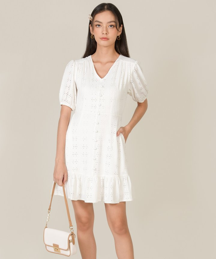 Isolde Broderie Button Down Dress - White