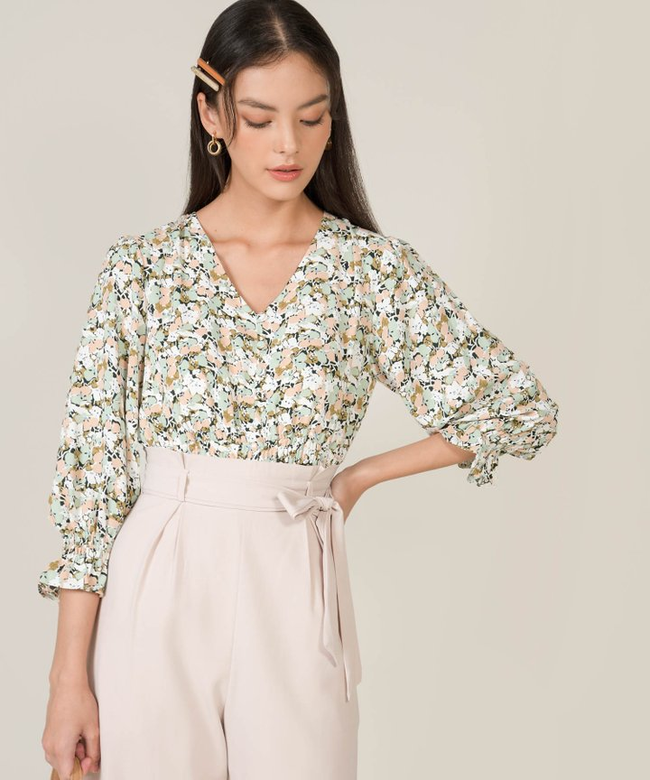 Marjorie Abstract Floral Smocked Blouse